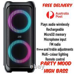 Jvc Bluetooth Portable Party Box Haut-parleur Lumières Led Colorées Sensibles À La Musique