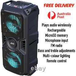 Jvc Portable Bluetooth Party Speaker Usb Microsd Aux Remote Fm Radio