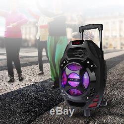 Karaoké Led Portable Bluetooth Party Dj 18 Système De Haut-parleurs W Wireless MIC 25w