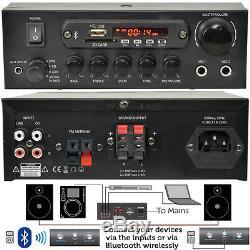 Kit Amplificateur Bluetooth 110 W Et Haut-parleurs Muraux D'angle 2x