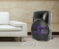 Le Haut-parleur Sans Fil Bruyant Du Haut-parleur Portatif De Partie De Bluetooth Multi Allume La Basse Sur Des Roues