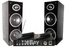 Ltc Bluetooth Karaoke Dj Party Set Système De Son Pa 2 X Micros Sans Fil Usb
