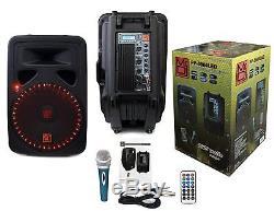 M. Dj 15 Alimenté 3000w Pro Dj Bluetooth Usb Pa Led Haut-parleur Karaoké MIC