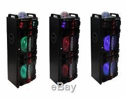 Monsieur. Dj Malibu Double 12 Rechargeable / Portable Led Party Haut-parleur / Bluetooth / Usb / Fm