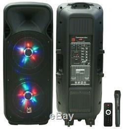 Mr Dj 4000 Watts Double 12 Rechargeable Pa Dj Haut-parleur / Bluetooth, Lumière, Echo