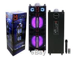 Mr. Dj Malibu Dual 12 Haut-parleur De Fête Rechargeable / Portable Led / Bluetooth / Usb / Fm