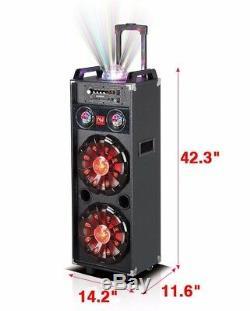 Nutek Double 10 Pouces Portable Bluetooth Pa Haut-parleur Rechargeable Party Disco Lights