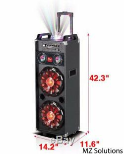 Nutek Dual 10 Pouces Portable Bluetooth Rechargeable Pa Haut-parleur Disco Party Lumières