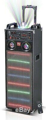 Nutek Ts-92123 6000w Système De Haut-parleurs De Fête Rechargeable Par Karaoké Bluetooth 2x12