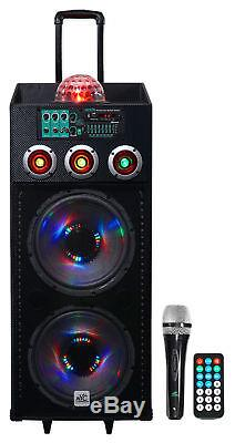 Nyc Acoustics N212b Dual 12 - Haut-parleur Bluetooth Avec Alimentation Électrique De 700w, Lumières + Micro