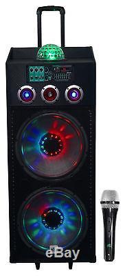 Nyc Acoustics N215b Dual 15 Enceinte De Soirée Dj Alimentée 800w Bluetooth, Lumières + Micro