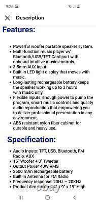 Party Haut-parleur 15 3500w Led Bluetooth Bluetooth Rechargeable / Aux Entrée / Usb / Fm Radio