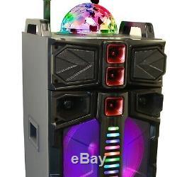 Portable Bluetooth Double 12 Dj Pa Enceintes Party Avec Led Feux MIC Usb / Sd