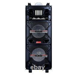Portable Dual 10'' Woofer Bt Party Speaker Fm Aux Tf Dj Led Light Withmic Remote
