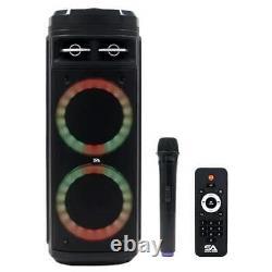 Powered Portable 2x6.5 Inch Party Karaoke Haut-parleur Led Bluetooth, MIC & Remote