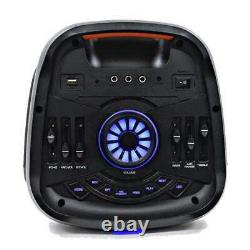 Powered Portable 2x8 Inch Party Karaoke Speaker Led Bluetooth, MIC & Remote