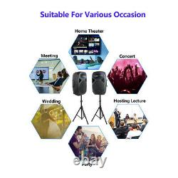 Pro Pa Powered Active Speakers Bluetooth Dual Adjustable Stands Wired MIC Party