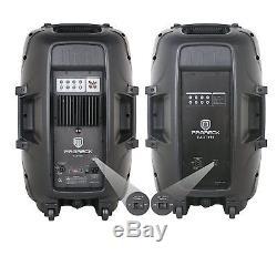 Proreck 2000w 15 Console De Mixage Avec Système De Haut-parleurs Dj Amplifiés + Supports Bluetooth / Usb / Sd / Led