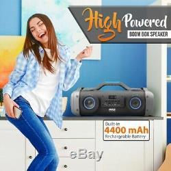 Pyle Pbmspg148 Bluetooth Boombox Karaoke Speaker System Clignotant Dj Party Lights