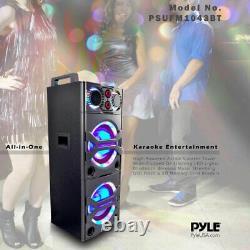 Pyle Psufm1043bt Système Haut-parleur Bluetooth Portable Avec Lumières De Partie Clignotantes