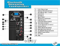 Pyle-pro Partie Amplificateur De Haut-parleur Karaoké Partie 10 Pouces / 700 Watts Pphp1037ub À Distance