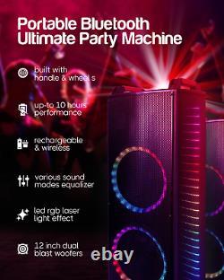 Qaise-12000 Watts Puissance De Pointe Haut De Gamme Rechargeable Bluetooth Party Haut-parleur Karao