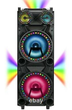 Qfx Pbx-1212 2 X 12 Haut-parleur De Partie +bluetooth +usb/sd/fm +3-disco Rgb Lights
