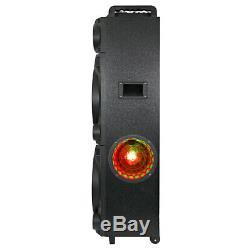 Qfx Pbx8122 Party Bluetooth Haut-parleur Portable Avec Double 12 Woofers