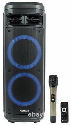 Rockville Go Party Zr10 Dual 10 Haut-parleur Bluetooth Portable Avec Microphone Led+uhf