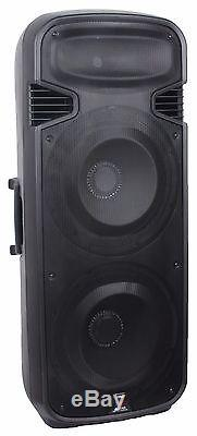 Staraudio Dual 15 Haut-parleur De Sonorisation Dj Party Bluetooth D'une Puissance De 4 500 W Avec Microphones Led