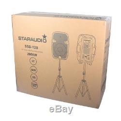 Staraudio Pair Audio 12 Enceintes De Sono Actives Dj Stage Stage