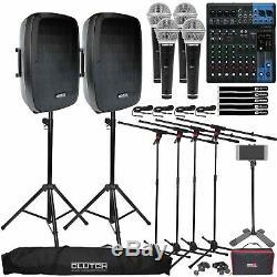 Système Complet De Karaoké Dj Party Avec Pack De 4 Haut-parleurs, Mixeurs, Microphones Et Supports