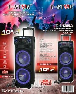 T-star T-1135a Dual 10' Sans Fil Chariot Professionnel Dj Party Système De Haut-parleurs